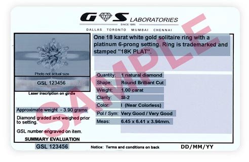 Image of Jewelry Appraisal Data Card